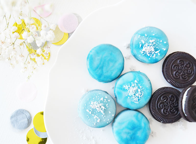 Marble dipped oreos | Winter Snow!